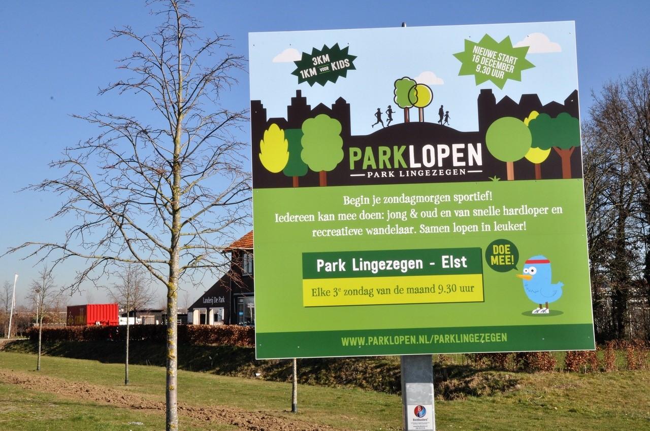 bord uitnodiging parklopen iedere 3e zondag van de maand in Park Lingezegen
